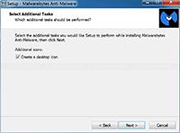 Malwarebytes Anti-Malware Installation - Select Additional Task