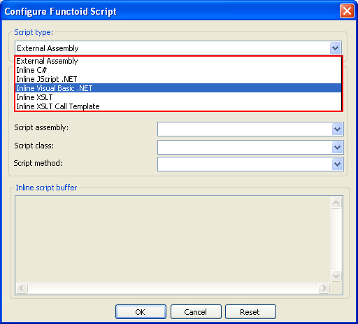 Select script type to Inline Visual Basic.NET
