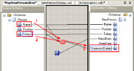Set inputs and output for concatenate functiod