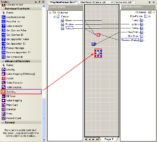 Drag Scripting functiod to map area