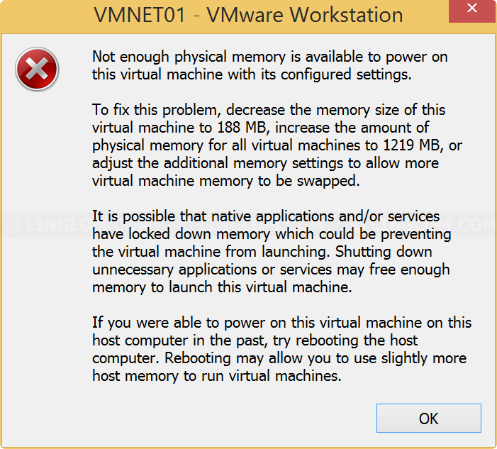 not enough physical memory is available to power on this machine
