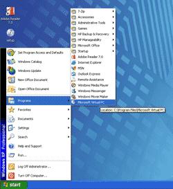 Open Microsoft Virtual PC 2007