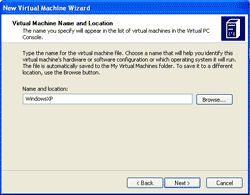 Select Virtual Machine Name and Location