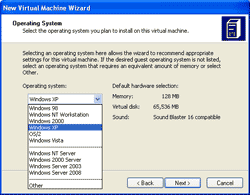 Choose Operating System for virtual machine