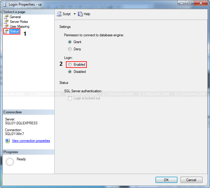 Change Authentication Mode on SQL Server 2012 Express - Linglom.com