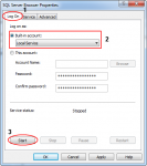 Configure account run SQL Server Browser and Start the Service