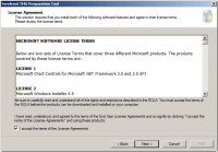Accept License Agreement on Forefront TMG 2010 Preparation Tool