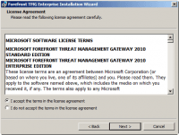 Accept License Agreement on Forefront TMG 2010 Installation Wizard