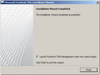 Forefront TMG 2010 Installation Wizard Completed