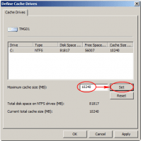 Configure Web Cache - Select Drive and Size