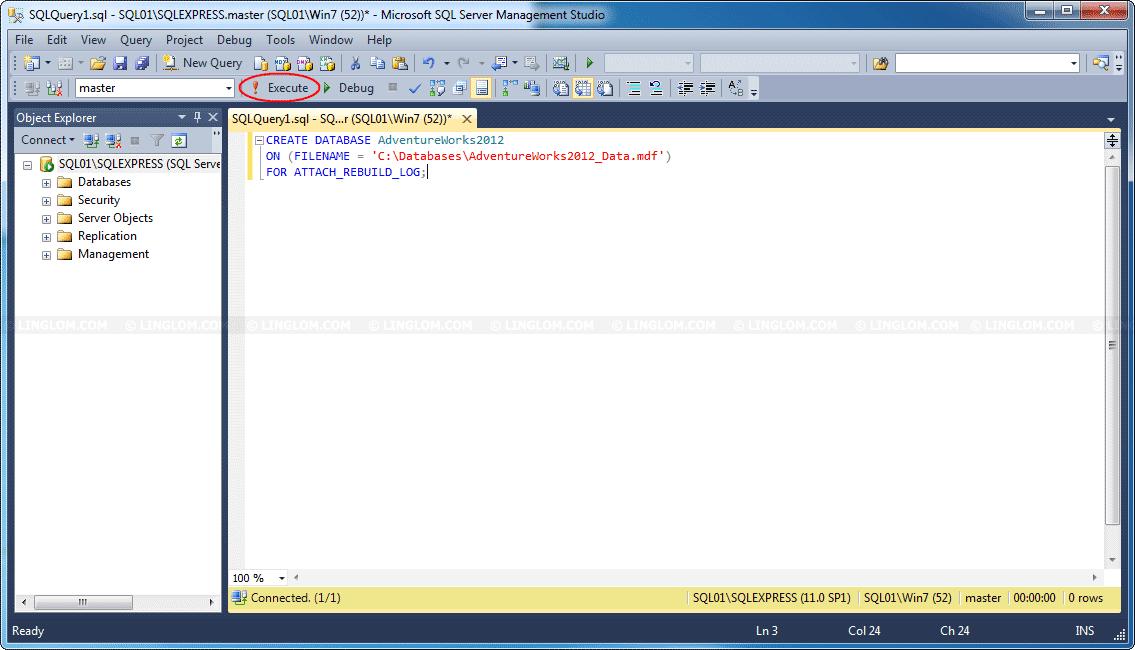 Install Sample Database Adventure Works on SQL Server 2012