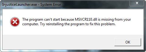 MSVCR110.dll is missing