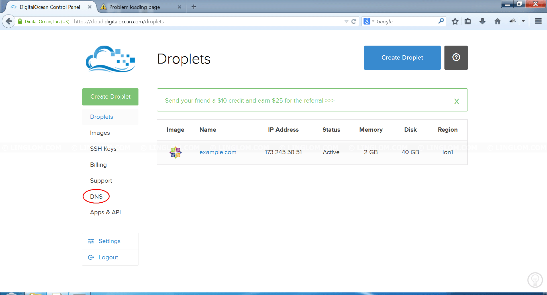 Control Panel on DigitalOcean