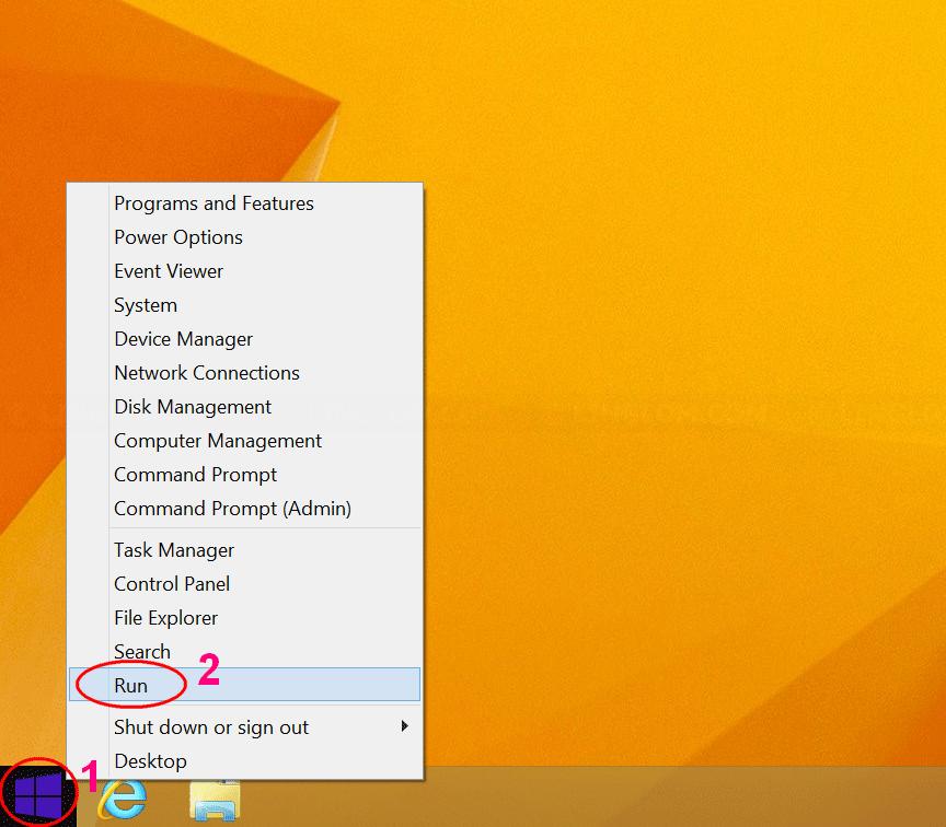Open Run on Windows 8.1