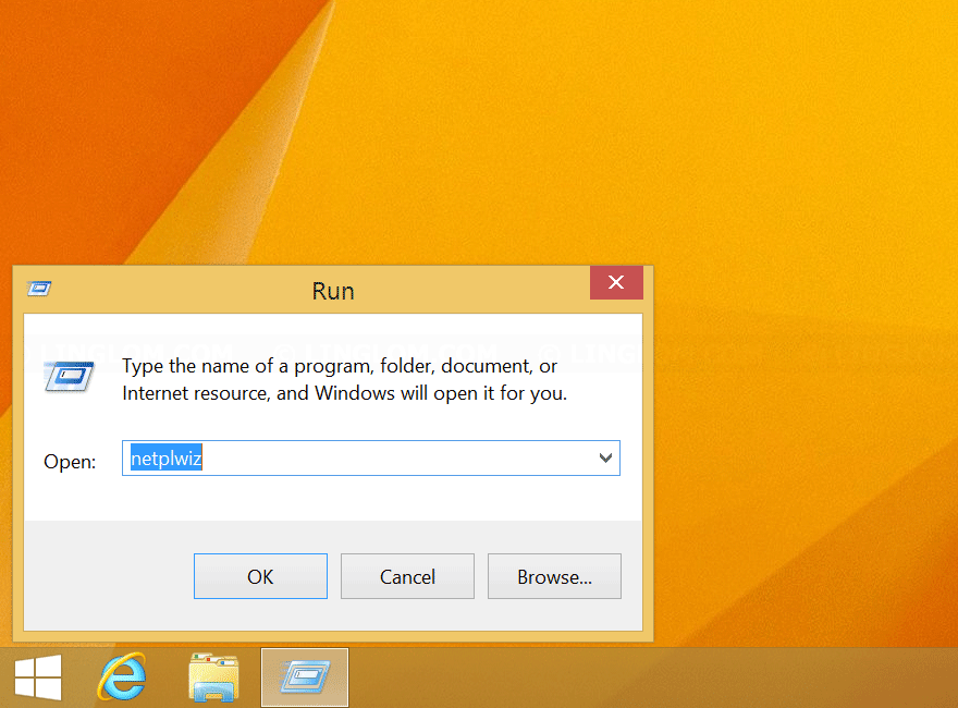 Run netplwiz on Windows 8.1