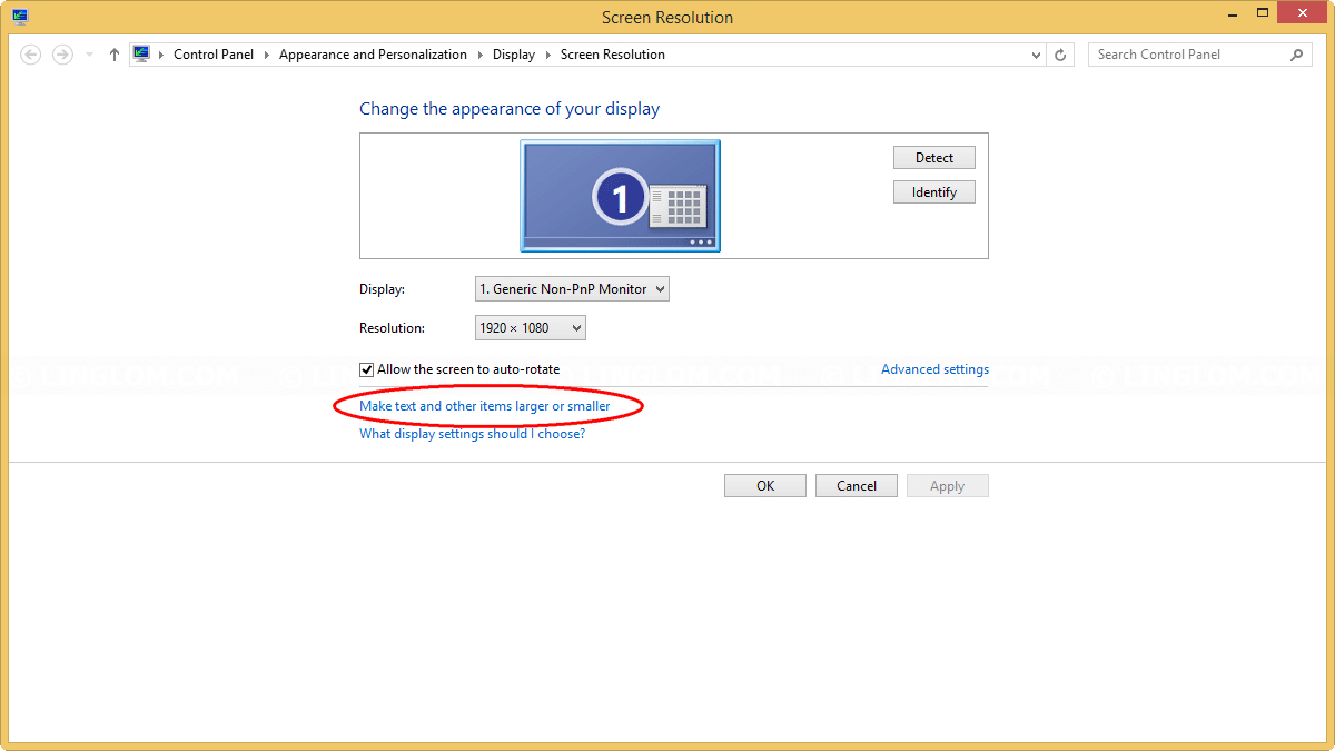 Screen Resolution on Windows 8.1