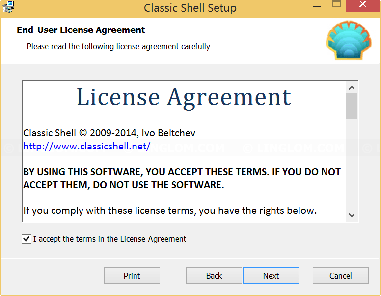 License agreement on Classic Shell Setup