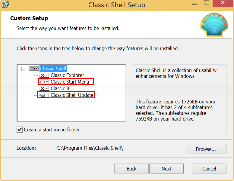 Select features on Classic Shell Setup