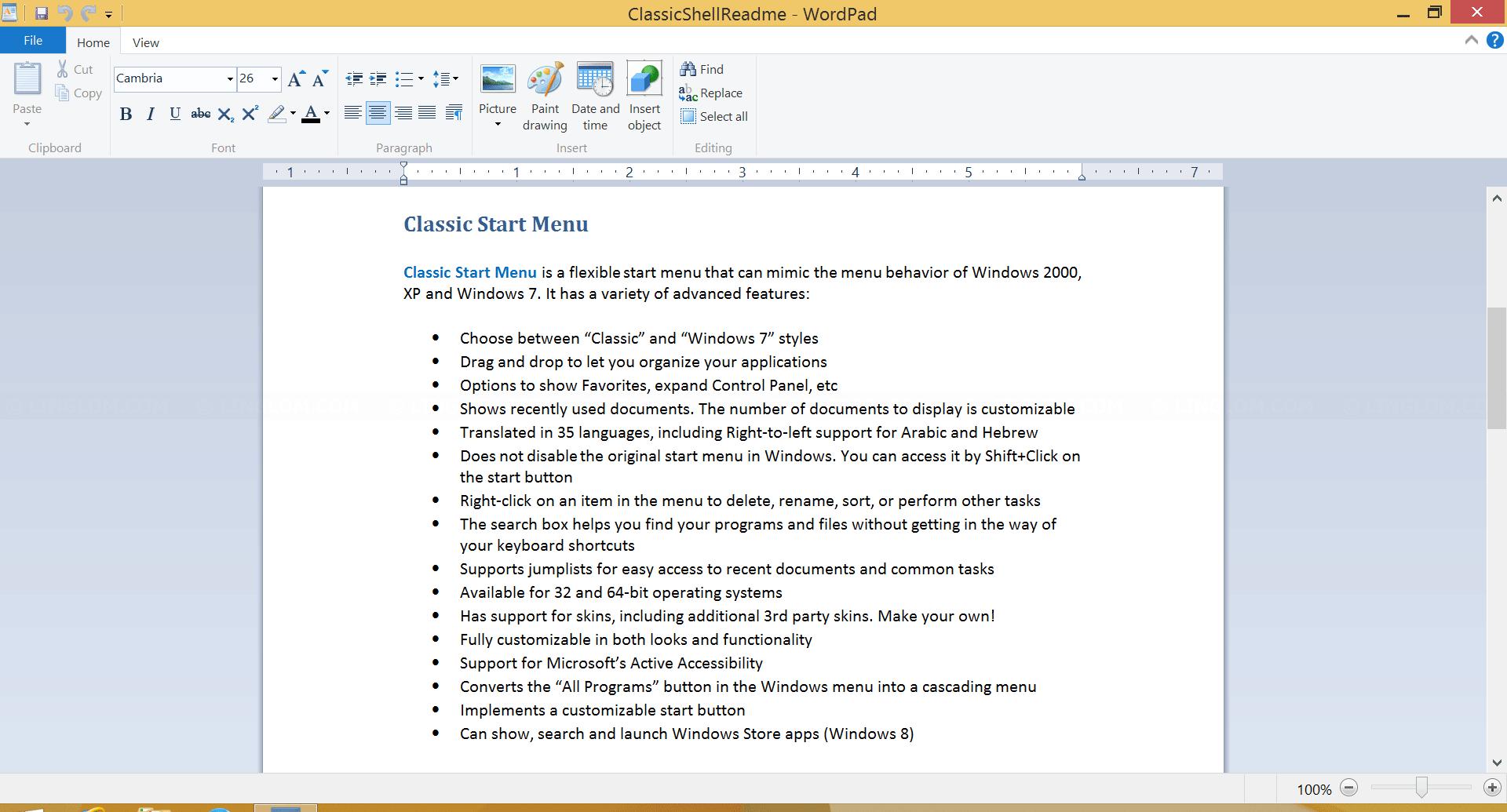 Readme file of Classic Start Menu