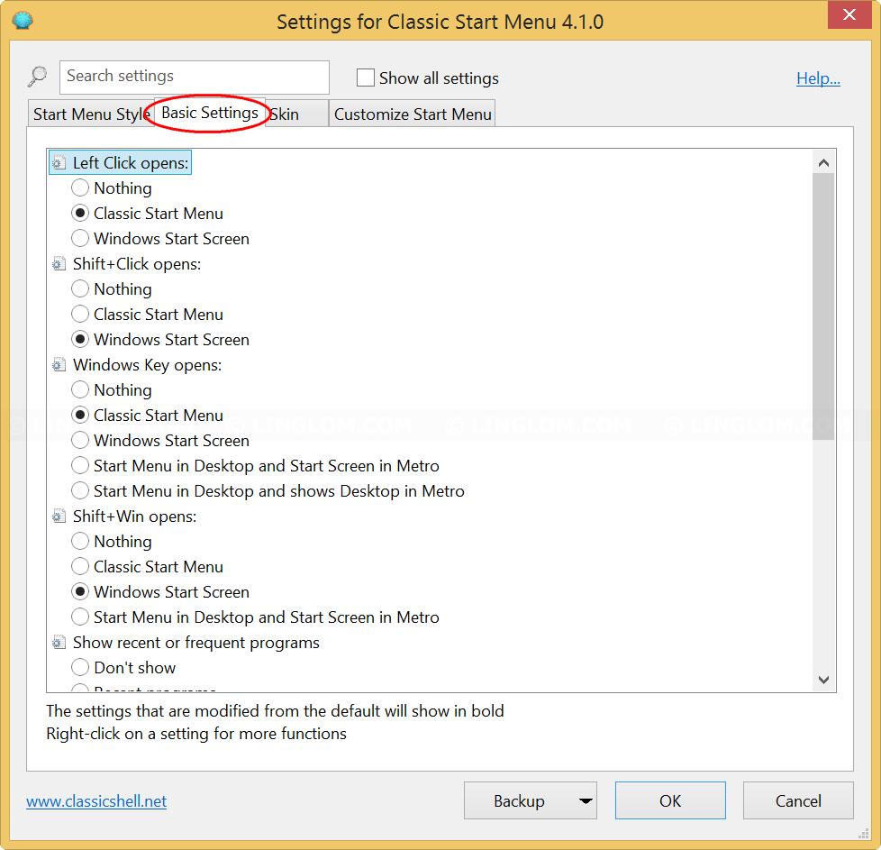 Basic Settings page on Classic Start Menu Settings