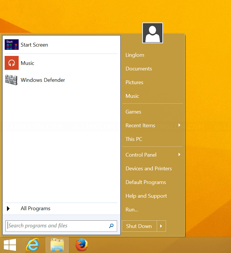Classic Start Menu on Windows 8.1