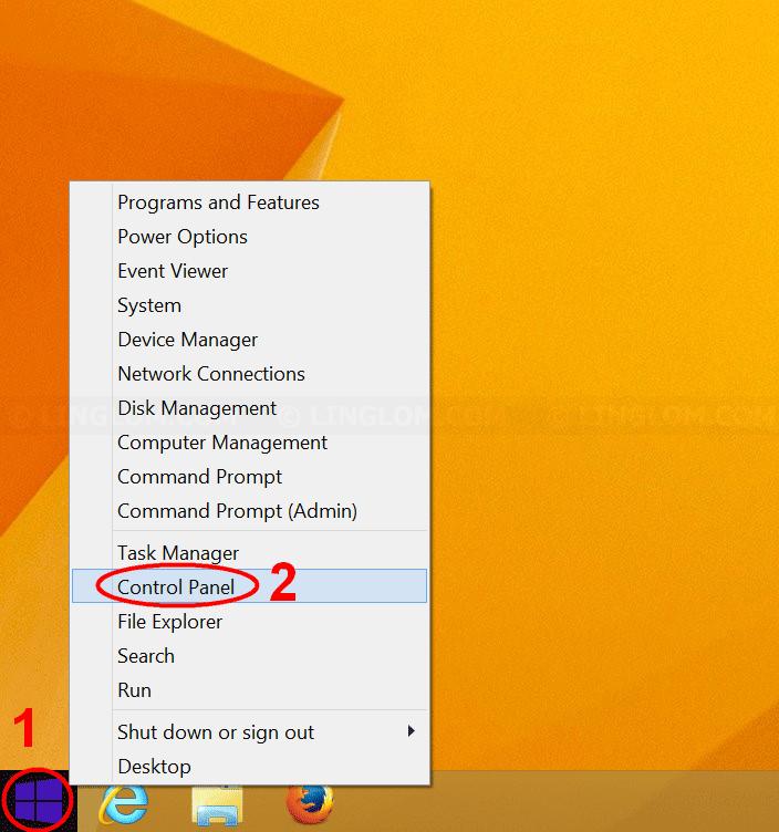 Open Control Panel on Windows 8.1