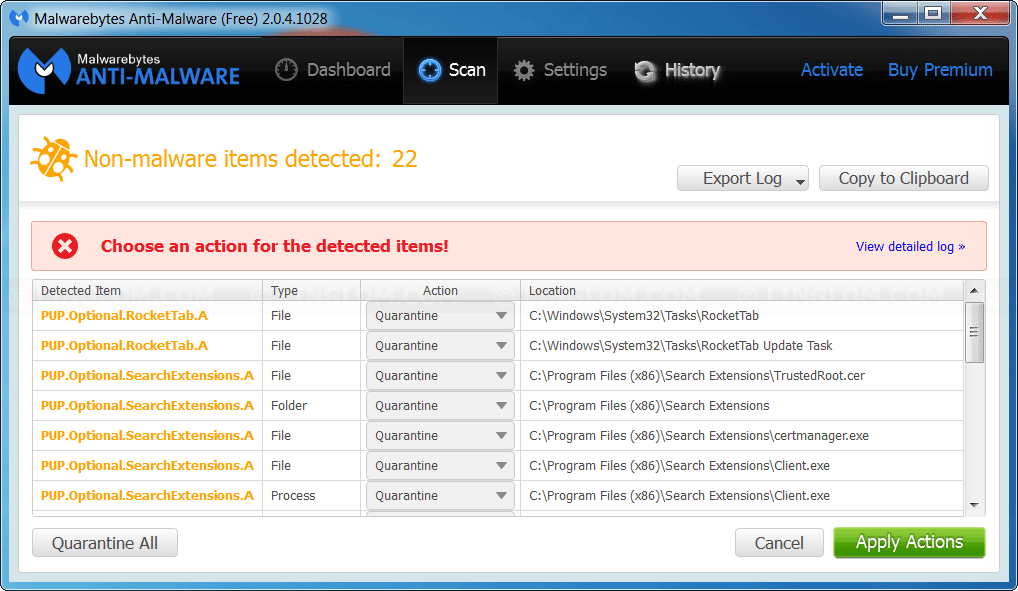 Example scanning result on Malwarebytes Anti-malware