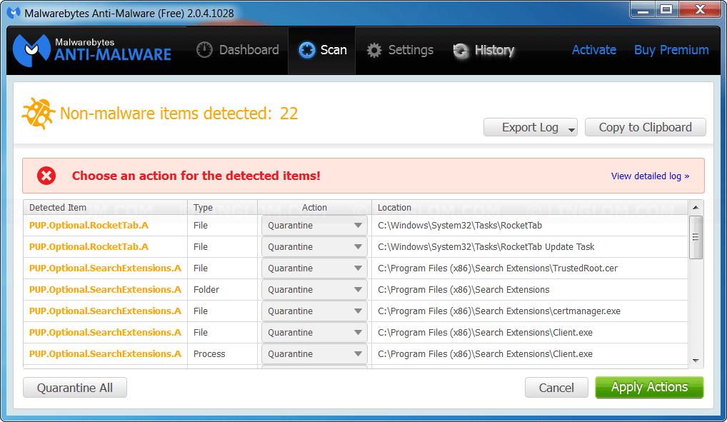 Example scanning result on Malwarebytes Anti-malware