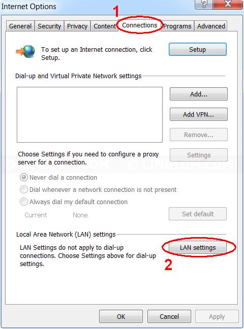Select LAN Settings on Internet Explorer