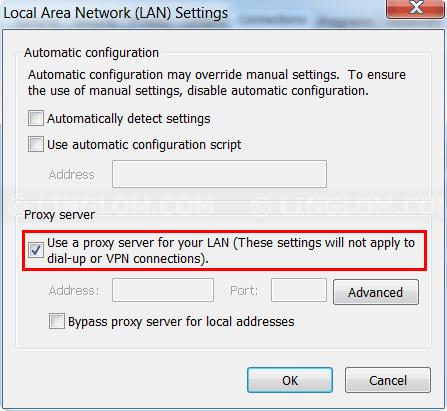 Disable Proxy Server on Internet Explorer