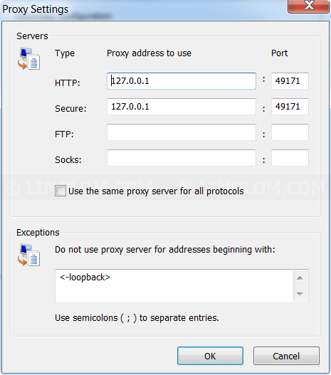 Proxy Settings on Internet Explorer