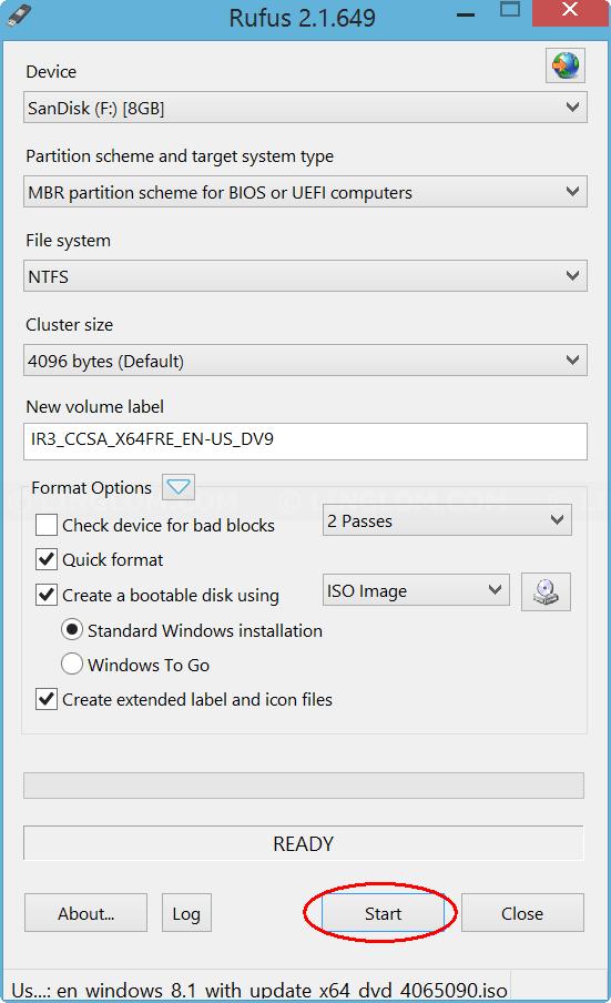 Start creating bootable USB on Rufus