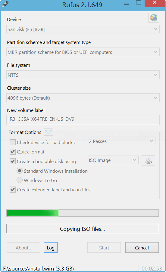 Copying files to USB flash drive on Rufus