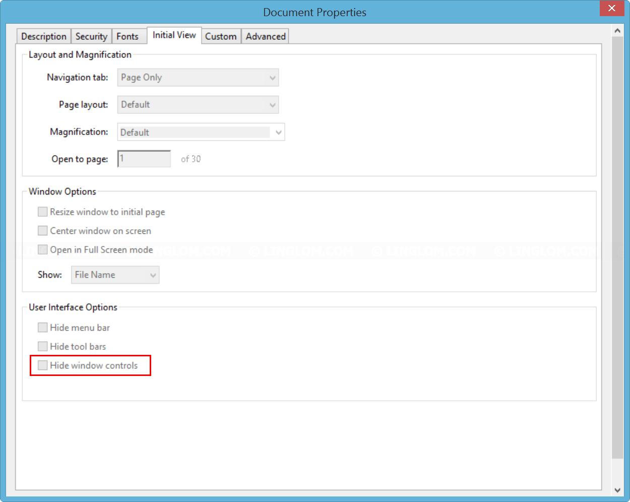 Document Properties on Adobe Acrobat