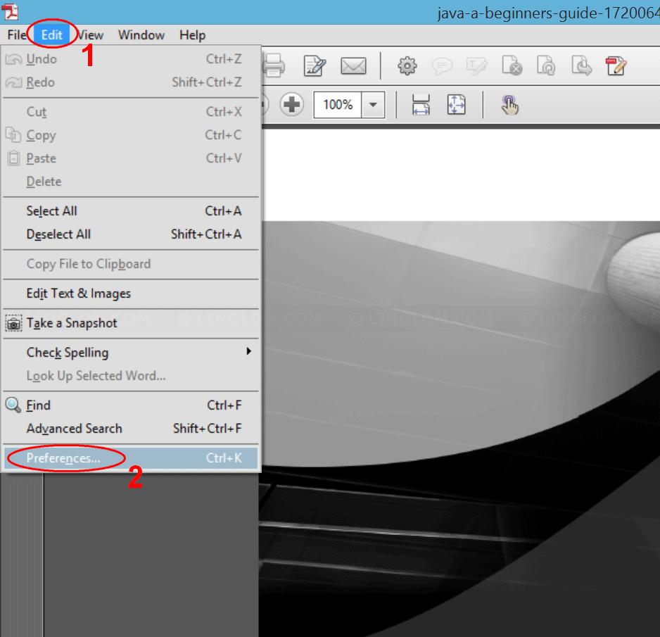 Open Preferences on Adobe Acrobat