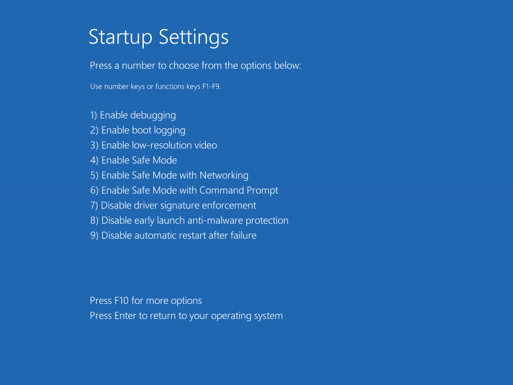 Startup Settings menu on Windows 8