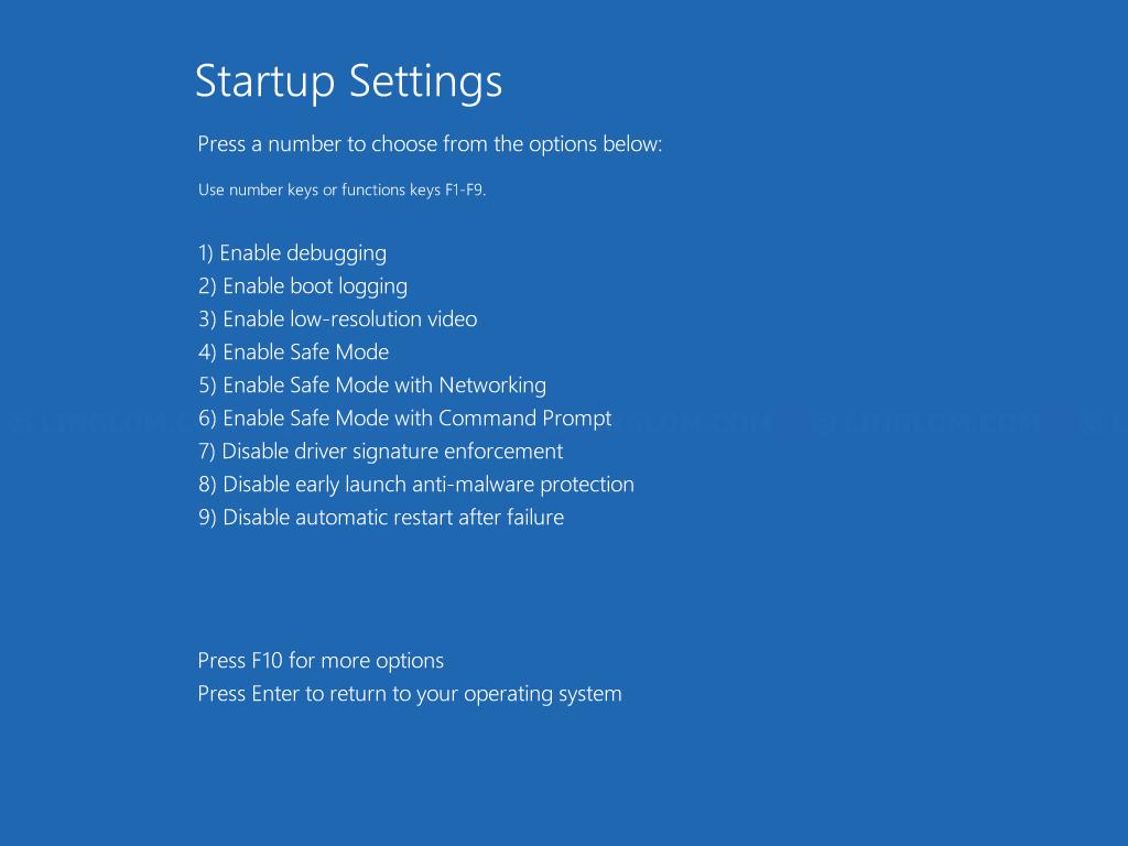 Startup Settings menu on Windows 8