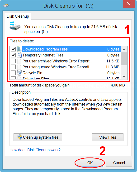 Select file types to delete on Disk Cleanup