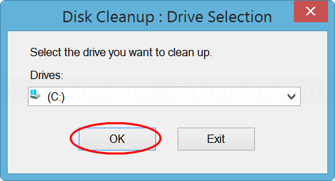 Select drive to scan for system files on Disk Cleanup