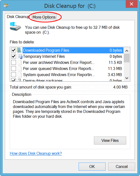 Click 'More options' tab on Disk Cleanup