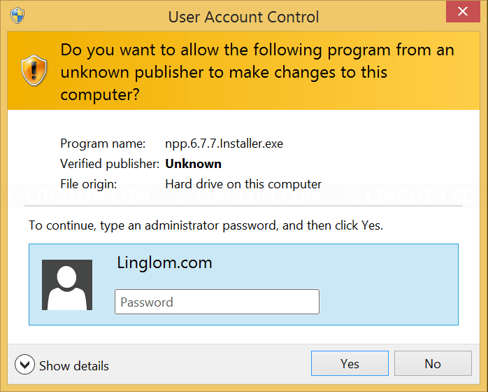 Administrator password is required to install a program