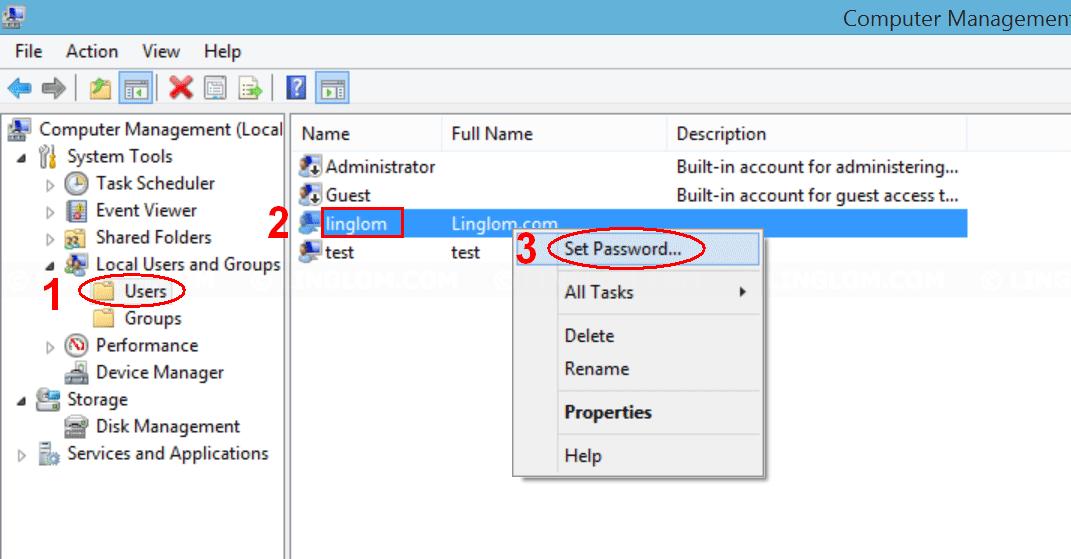 Select 'Set Password' on Computer Management
