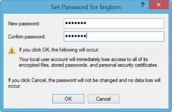 Enter new password for the user account