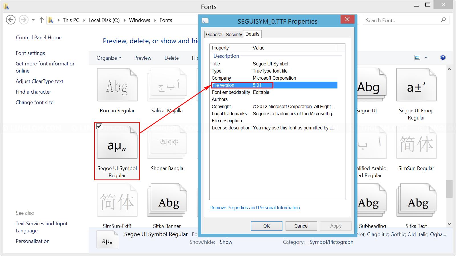 Segoe UI Symbol Version 5.01