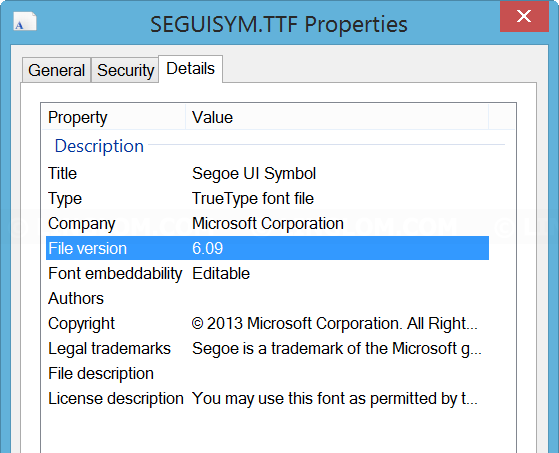 Segoe UI Symbol Version 6.09