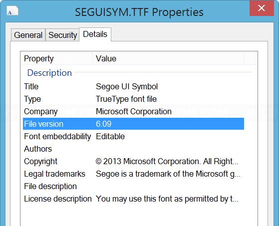 Segoe UI Symbol Version 6.09