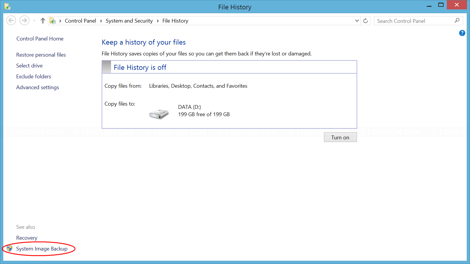 Open System Image Backup on Windows 8.1