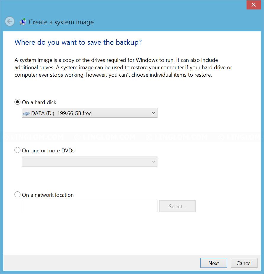 Select backup destination