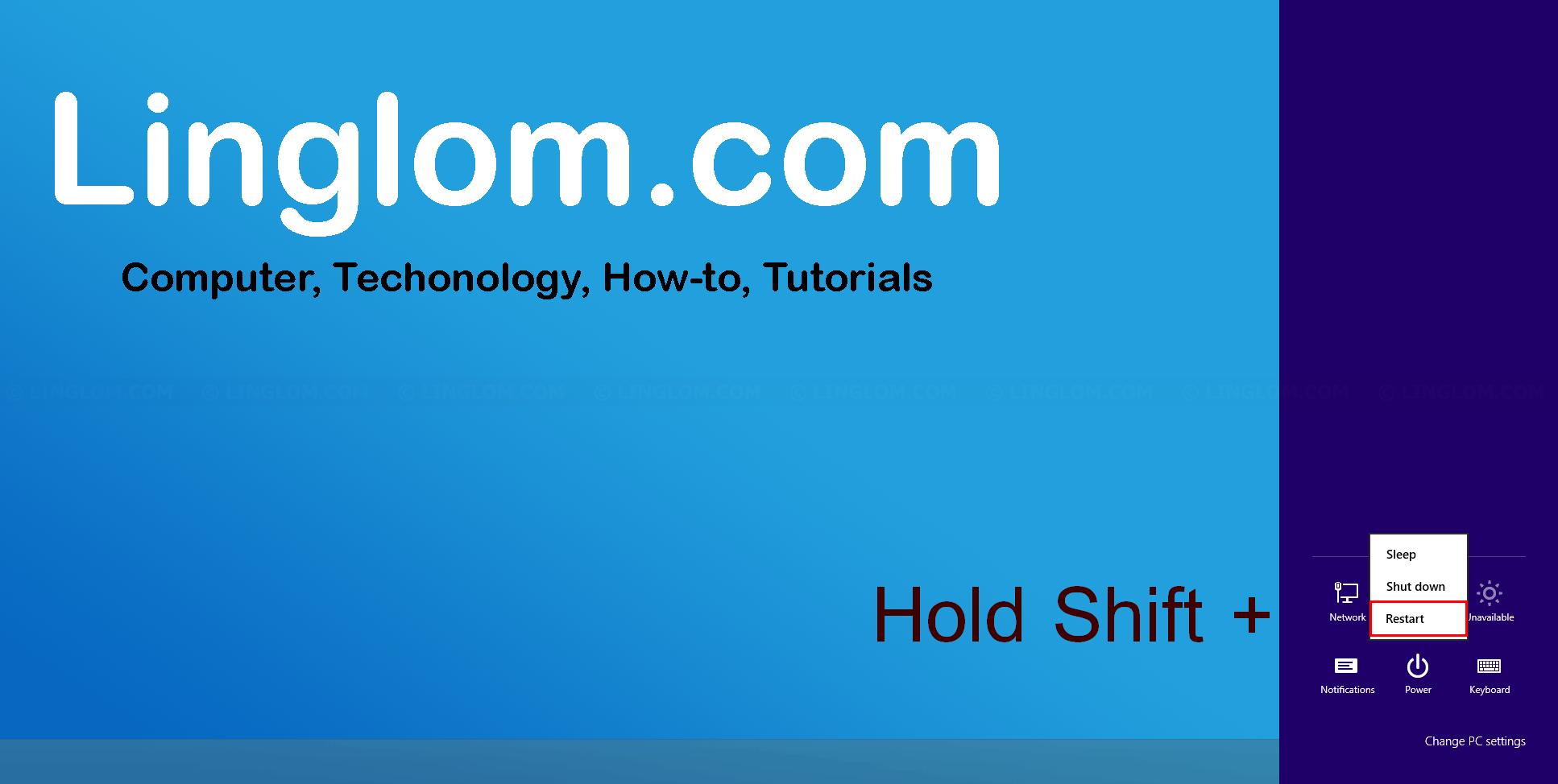 Enter recovery mode from Windows 8.1 desktop