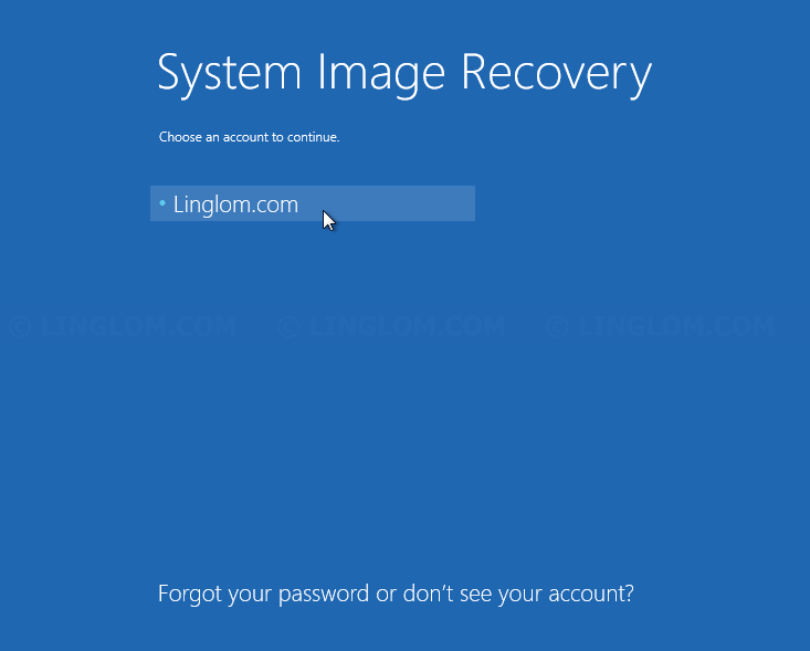Select user account on System Image Recovery